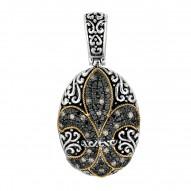 """18Kt Yellow Gold Sterling Silver Black White Sapphire Oval Fle Ur De Lis Pendant. """"Fleur-De-Lis"""" Collection."""