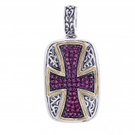 """18Kt Yellow Gold Sterling Silver Oxidized Ruby Cross Theme Pen Dant. Timeless """"Byzantine"""" Collection."""