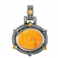 18kt Yellow Gold oxidized Silver Amber Cameo Pendant
