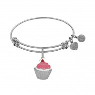 Brass White Finish Cupcake Charm On White Angelica Bangle
