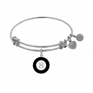 Brass with White Finish Black&White Enamel 8 Ball  Angelica Bangle