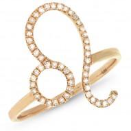 0.17ct 14k Yellow Gold Diamond Zodiac Leo Ring