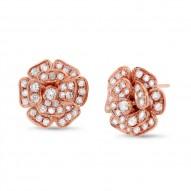 Maddison E 1.62ct 14k Rose Gold Diamond Flower Earring