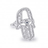 1.64ct 14k White Gold Diamond Hamsa Ring
