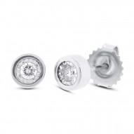 Maddison E 0.14ct 14k White Gold Diamond Round Stud Earring