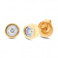 Maddison E 0.14ct 14k Yellow Gold Diamond Round Stud Earring