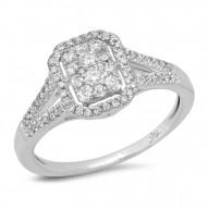 0.40ct 14k White Gold Diamond Cluster Engagement Ring