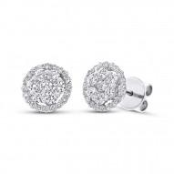 Maddison E 1.17ct 18k White Gold Diamond Cluster Stud Earring