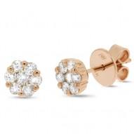 Maddison E 0.61ct 18k Rose Gold Diamond Cluster Stud Earring
