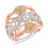 0.88ct 18k Three-tone Gold White & Fancy Color Diamond Ring