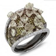5.46ct 18k Two-tone Black Rhodium Gold White & Fancy Color Diamond Ring