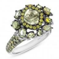 3.11ct 18k White Gold Fancy Color Diamond Ring