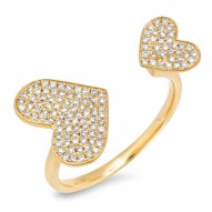 0.33ct 14k Yellow Gold Diamond Pave Heart Ring