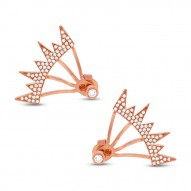 Maddison E 0.38ct 14k Rose Gold Diamond Pave Ear Jacket Earring with Studs