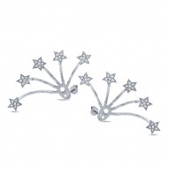 Maddison E 0.27ct 14k White Gold Diamond Star Ear Jacket Earring with Studs