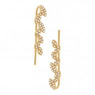 Maddison E 0.25ct 14k Yellow Gold Diamond Leaf Ear Crawler Earring