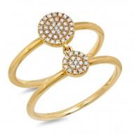0.17ct 14k Yellow Gold Diamond Pave Lady