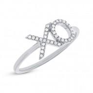 "0.09ct 14k White Gold Diamond ""XO"" Ring"
