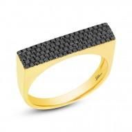 0.30ct 14k Yellow Gold Black Diamond Pave Lady