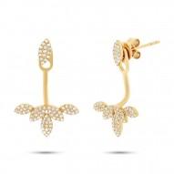 Maddison E 0.39ct 14k Yellow Gold Diamond Leaf Earring Jacket with Stud