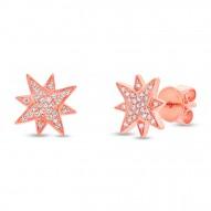 Maddison E 0.11ct 14k Rose Gold Diamond Star Earring