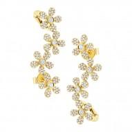Maddison E 0.68ct 14k Yellow Gold Flower Diamond Ear Crawler Earring