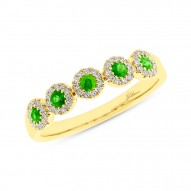 0.16ct Diamond & 0.30ct Green Garnet 14k Yellow Gold Lady