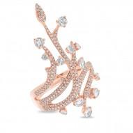 1.18ct 14k Rose Gold Diamond Rose Cut Ring