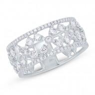0.93ct 14k White Gold Diamond Flower Ring