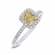 Madison E 0.63ct Cushion Cut Center and 0.27ct Side 18k Two-tone Gold Natural Yellow Diamond Ring