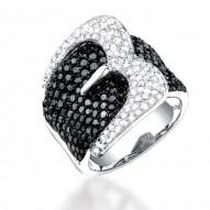 Madison E 3.05ct 14k White Gold Black & White Diamond Belt Ring Size 5.5