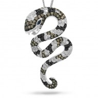 Madison E 2.30ct 14k White Gold Fancy Color Diamond Snake Pendant