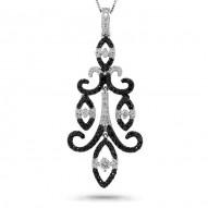 Madison E 0.80ct 14k White Gold Black & White Diamond Chandelier Pendant