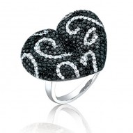 Madison E 2.50ct 14k White Gold Black & White Diamond Heart Ring