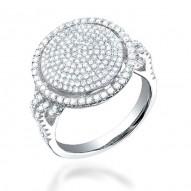 "Madison E 1.10ct 14k White Gold Diamond Pave ""O"" Ring"