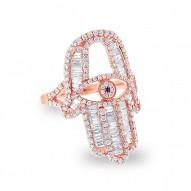 Madison E 1.64ct 14k Rose Gold Diamond Hamsa Ring