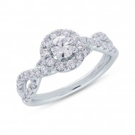 Madison E 0.40ct Round Brilliant Center and 0.60ct Side 14k White Gold Diamond Engagement Ring