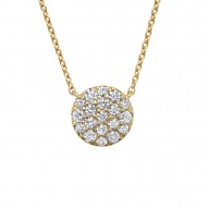 Madison E 0.43ct 14k Yellow Gold Diamond Pave Circle Necklace