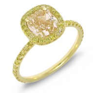 Madison E 1.60ct Cushion Cut Center and 0.42ct Side 18k Yellow Gold EGL Certified Natural Yellow Diamond Ring