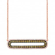 Madison E 0.70ct 14k Rose Gold White & Champagne Diamond Bar Necklace