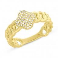 Madison E 0.14ct 14k Yellow Gold Diamond Clover Link Ring