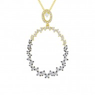 Madison E 0.91ct 14k Rose Gold White & Champagne Diamond Pendant