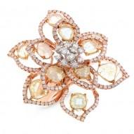 Madison E 3.89ct 18k Rose Gold Fancy Color Diamond Flower Ring