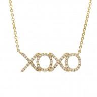 "Madison E 0.19ct 14k Yellow Gold Diamond ""XOXO"" Pendant"