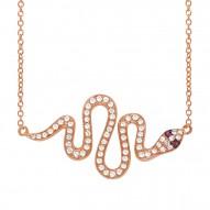Madison E 0.31ct Diamond & 0.02ct Ruby 14k Rose Gold Snake Necklace