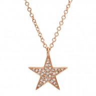 Madison E 0.09ct 14k Rose Gold Diamond Star Pendant