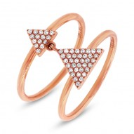 Madison E 0.17ct 14k Rose Gold Diamond Pave Triangle Ring
