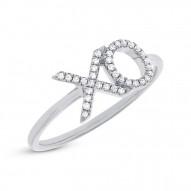 """Madison E 0.09ct 14k White Gold Diamond """"XO"""" Ring"""
