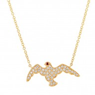 Madison E 0.20ct Diamond & 0.01ct Ruby 14k Yellow Gold Eagle Necklace