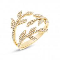 Madison E 0.44ct 14k Yellow Gold Diamond Leaf Ring